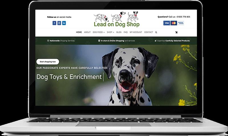 Website screenshot of Lead On Dog Shop - Dog Food & Toys Website